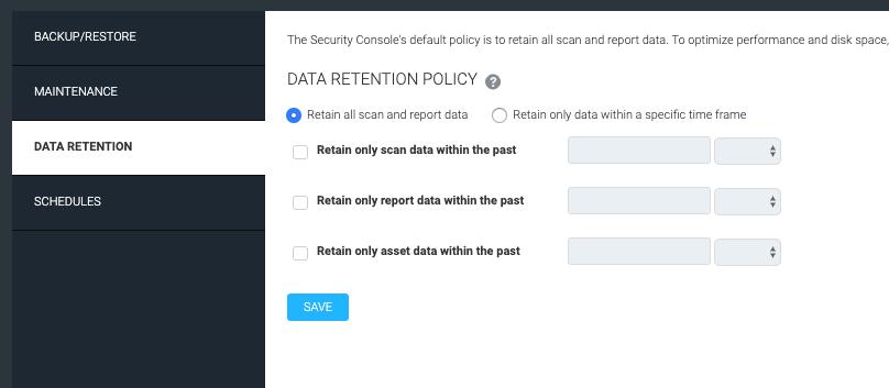 Database backup/restore and data retention