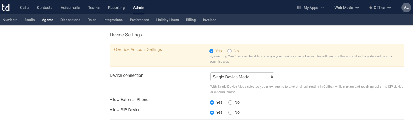 """Before clicking on """"Change Settings"""" (Single Device Mode was enabled but not locked down)."""
