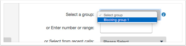 Select a Call Blocking Group when setting up Call Blocking