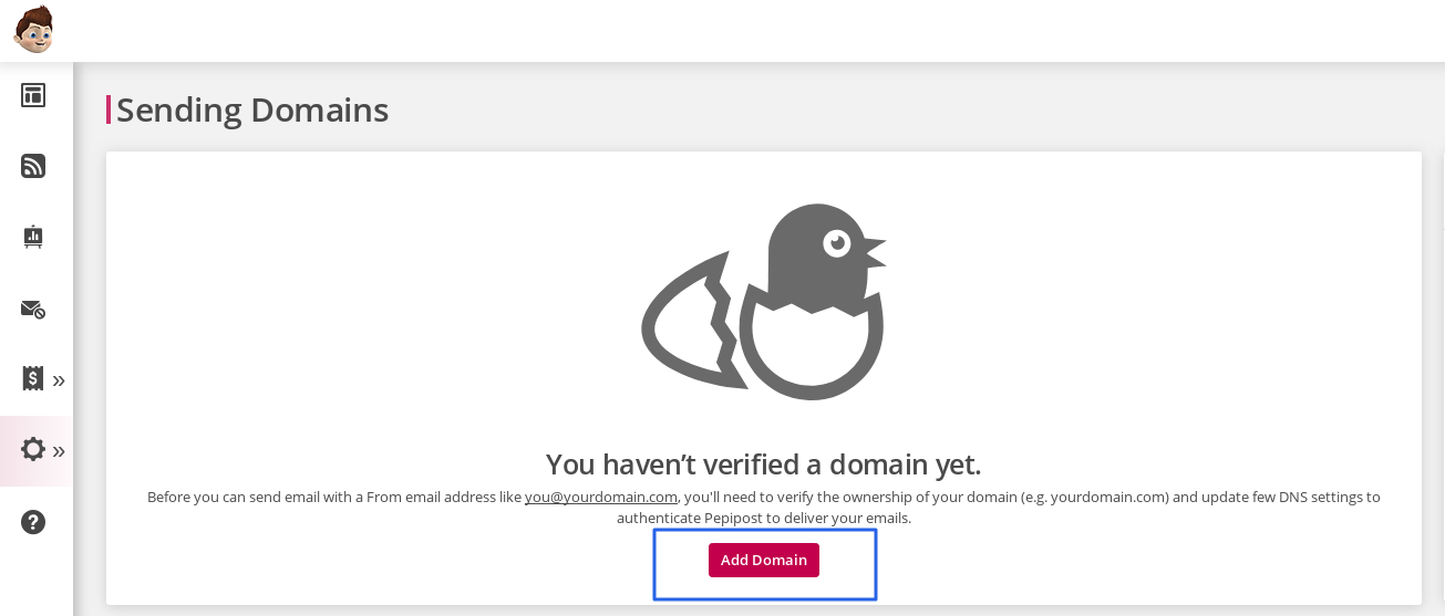 In Add your Domains field, type the name of the domain that you want to add. e.g. mydomain.com.