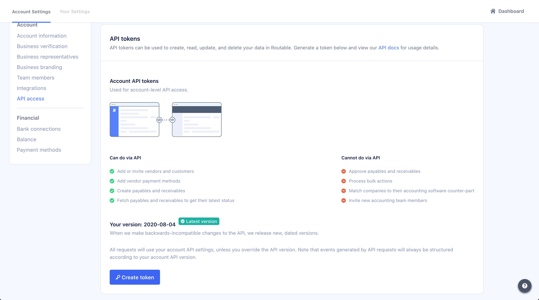Account Settings > API access