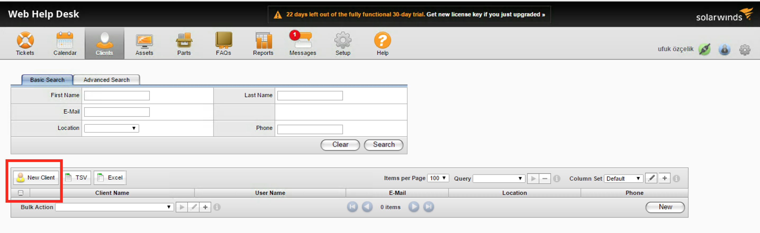 Click On New Client Button In SolarWinds Web Help Desk.
