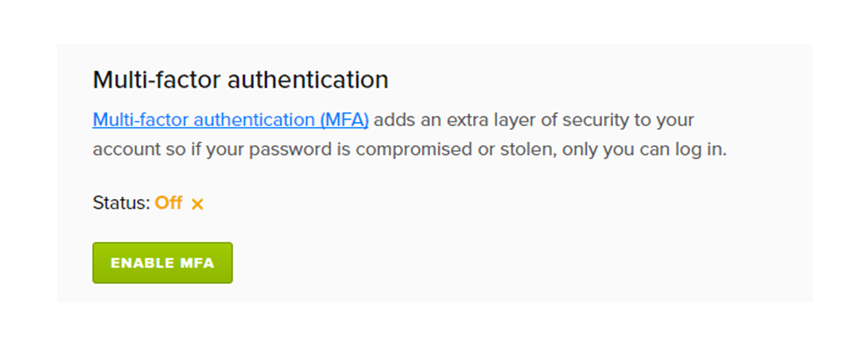 The Enable MFA section of your user profile.