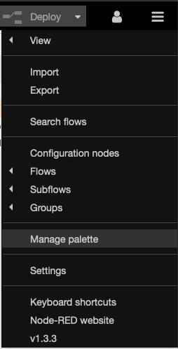 "The ""Manage palette"" menu option lets you install plugins."