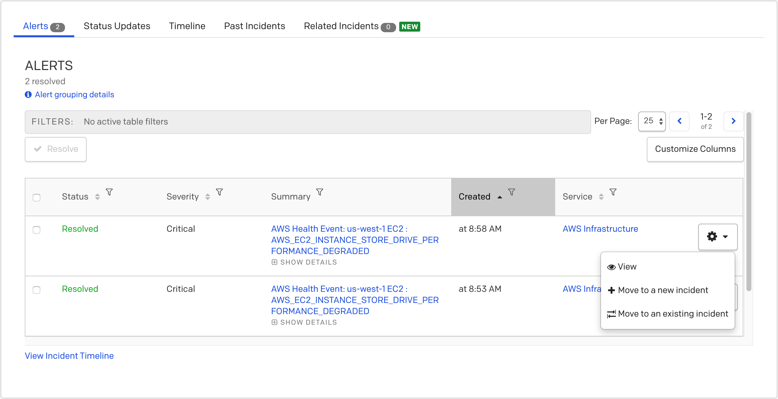 (4) How to manually move alerts to an existing or new incident