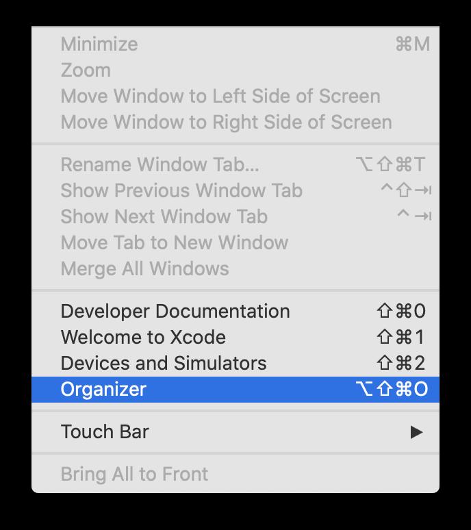 Opening the Xcode Organizer