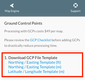 Download one of the GCP templates. make sure that your elevation units reflect the same units as your selected EPSG code.