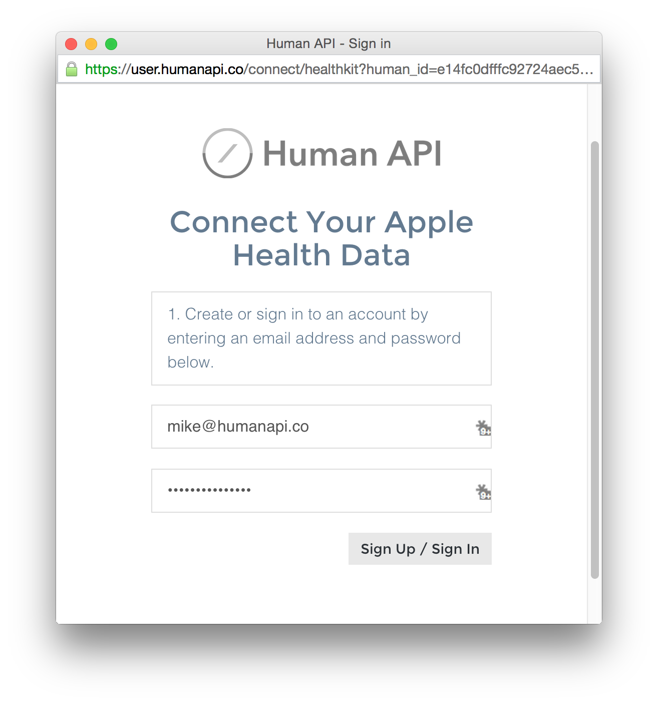 Human API Connect Sign Up Window