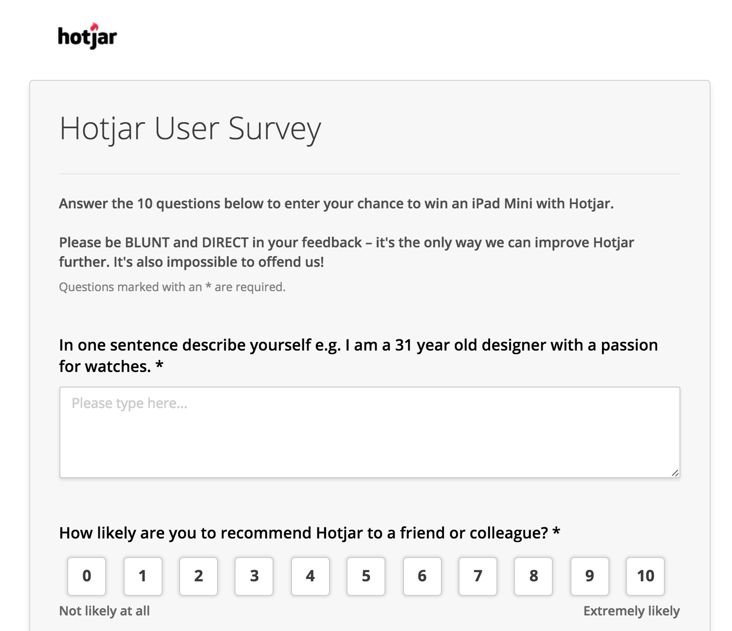 A Survey page example.