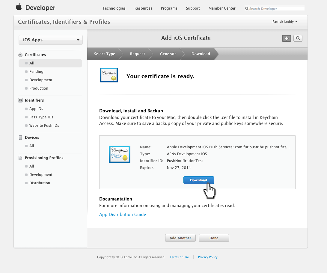 How to setup an ios push cert pulsate documentation finally download the apsdevelopmentcer file to your desktop 1betcityfo Images