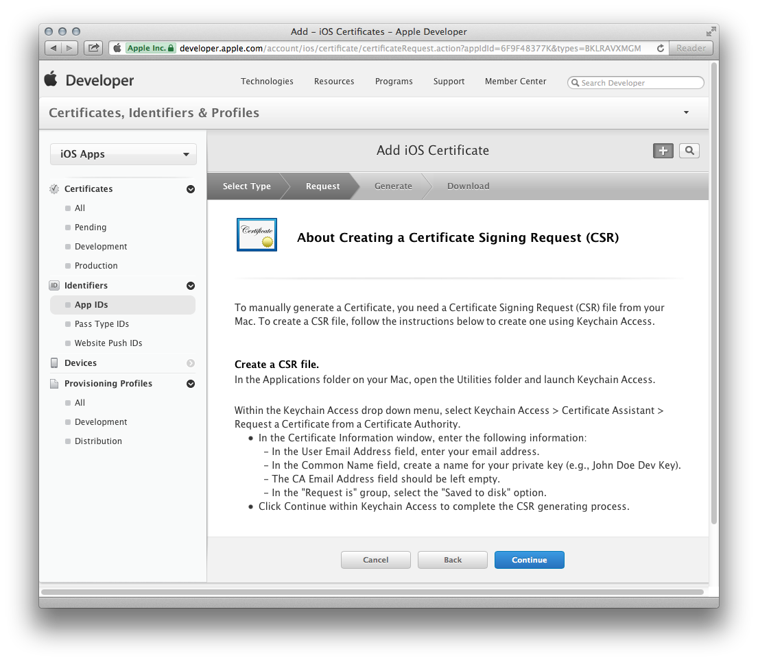 Figure 10. The Apple Push Notification service SSL Certificate Assistant screen