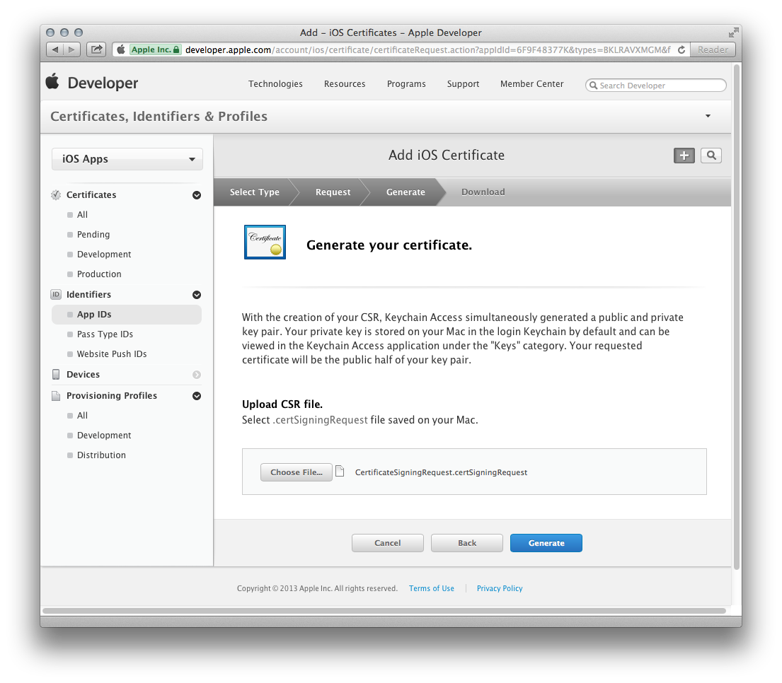 Ios configuration generating the ssl certificate xflitez Image collections