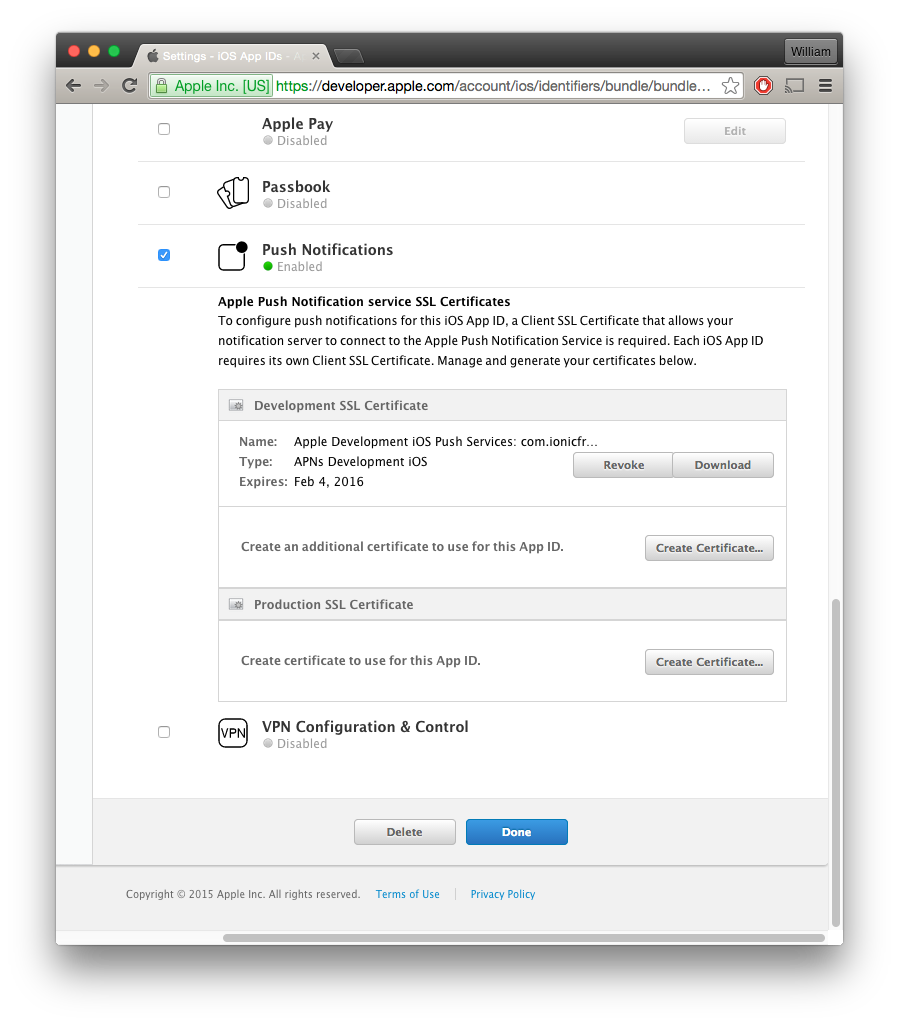 Ios setup ionic documentation once the certificate is ready download it from the app id edit screen and double click on the downloaded certificate to install it to your keychain xflitez Choice Image