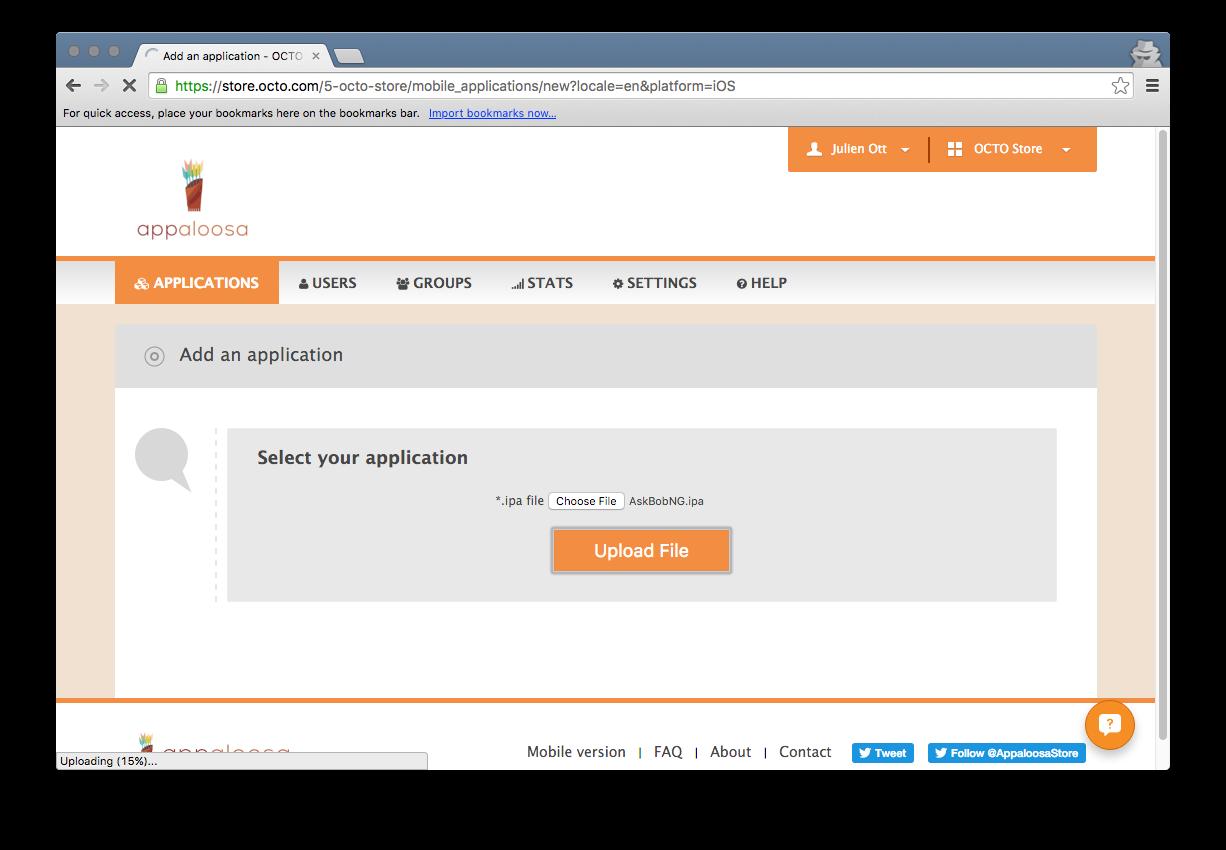 Upload applications to Appaloosa