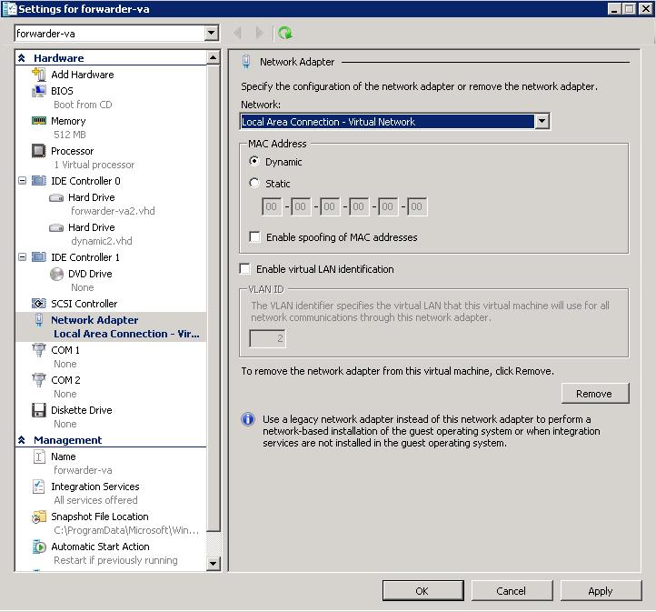 Deploy VAs in Hyper-V for Windows 2008 R2