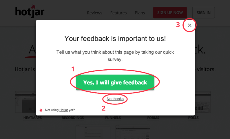 A typical Survey Invite which can be added to your site.