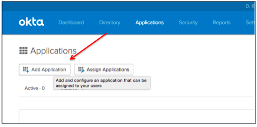 Okta Add Application Screen