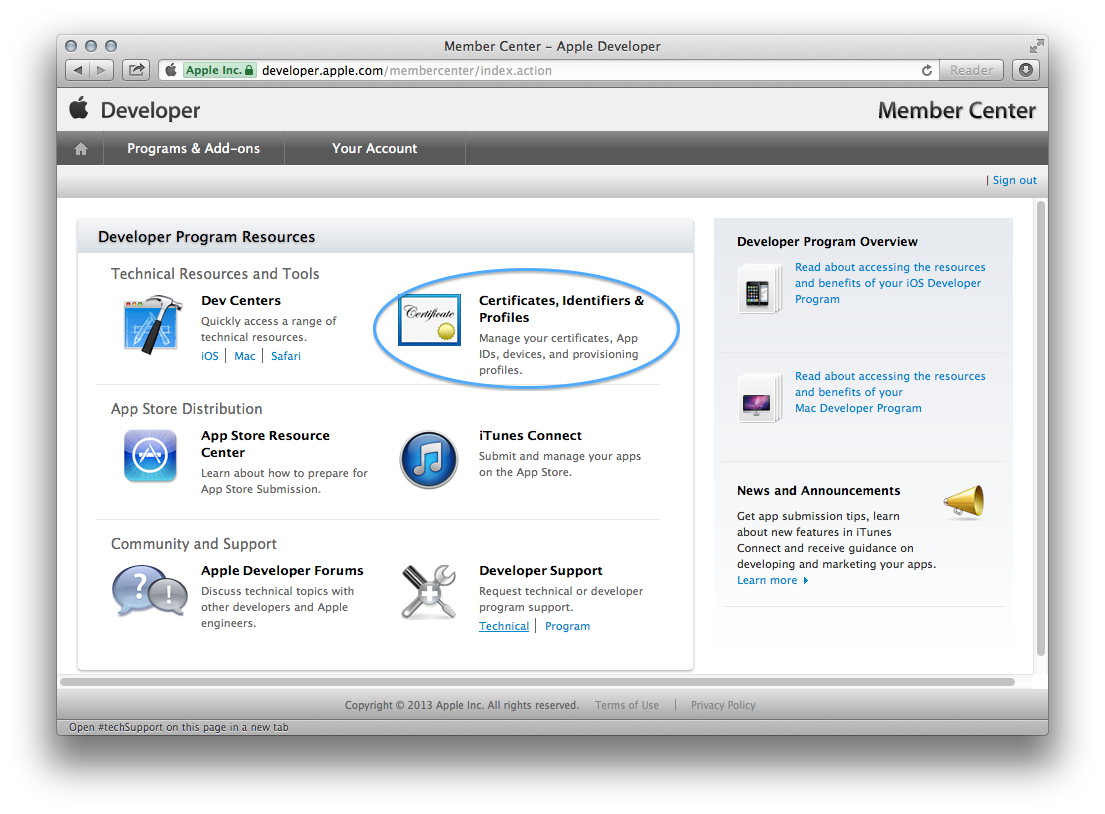 Figure 4. Launching the iOS Provisioning Portal
