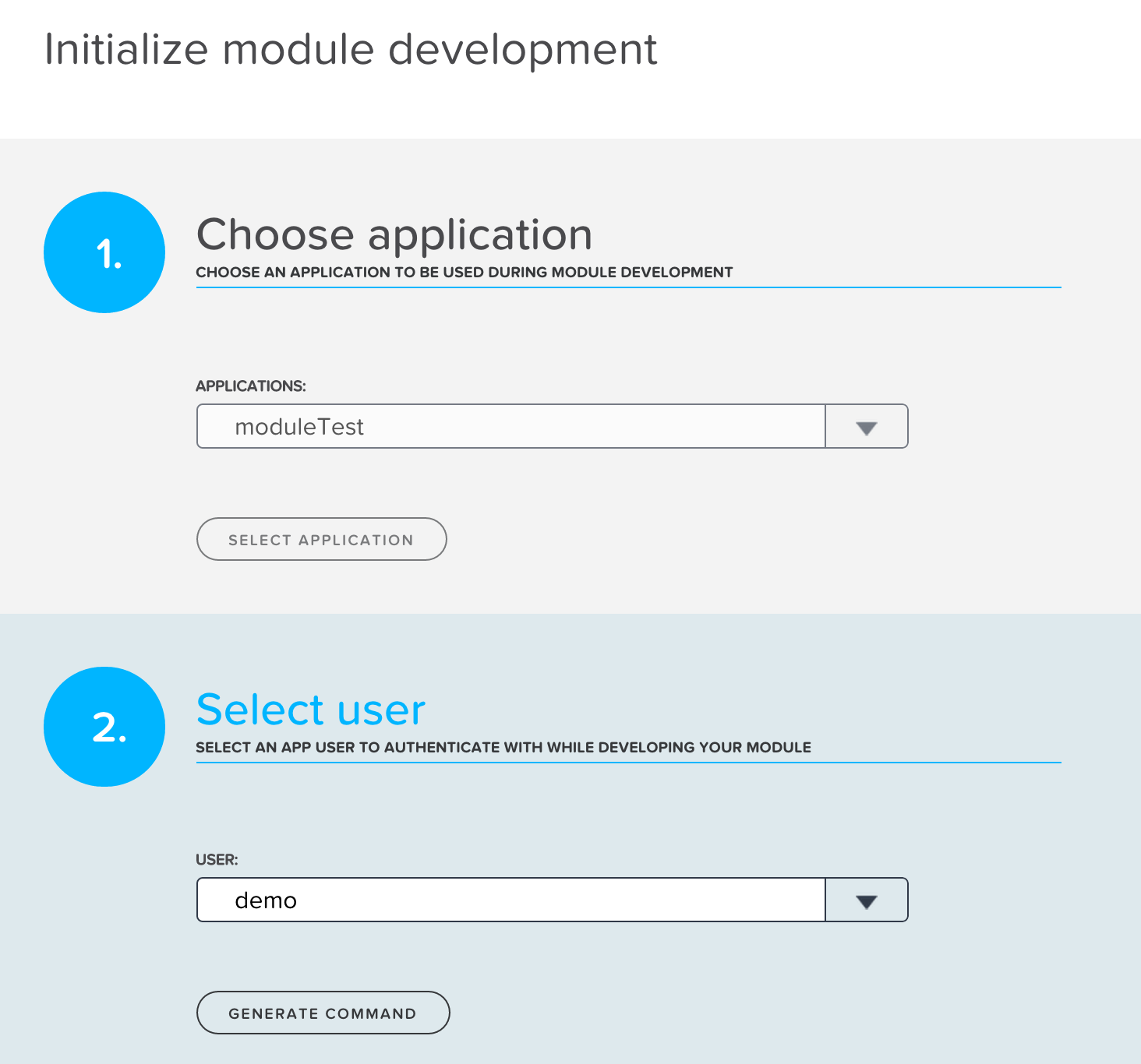 The module connection wizard will ask for an app and user to use as the development module's configuration