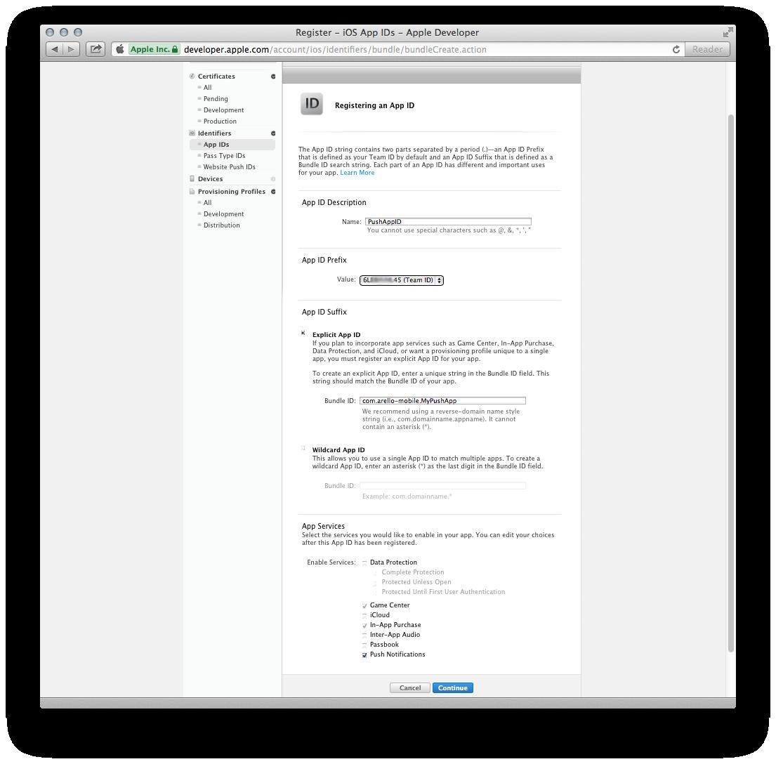 Figure 7. Creating a new App ID