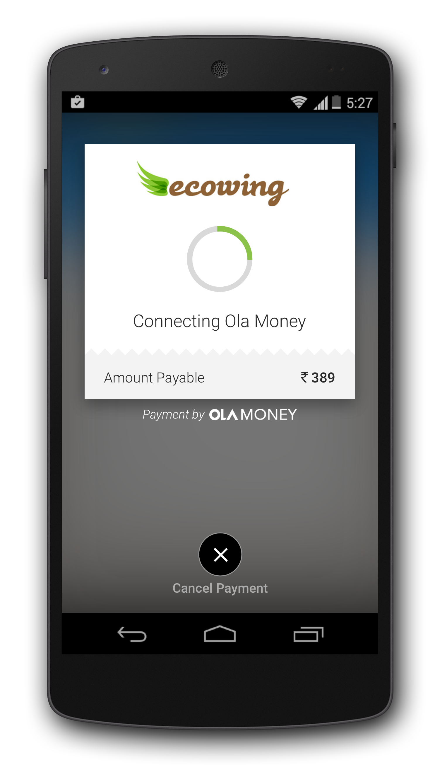 Connect with Ola Money through the Olacabs app