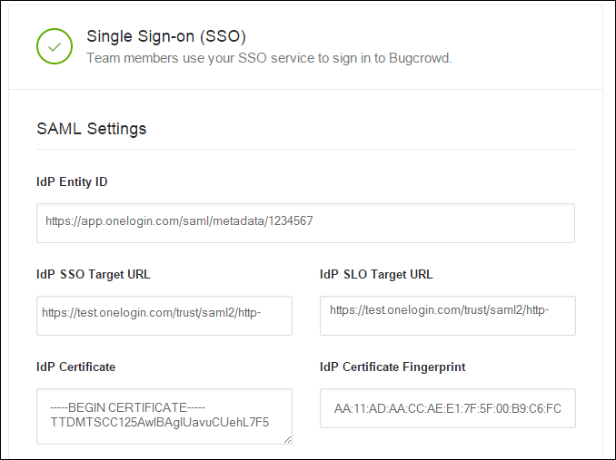 Add the SSO settings from OneLogin