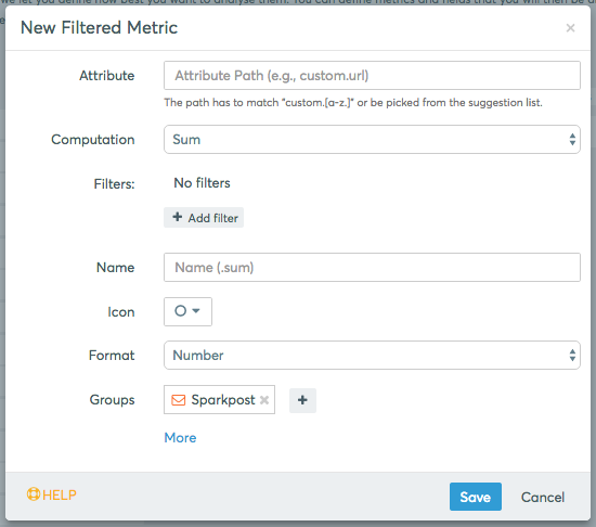 The Filtered Metric editor