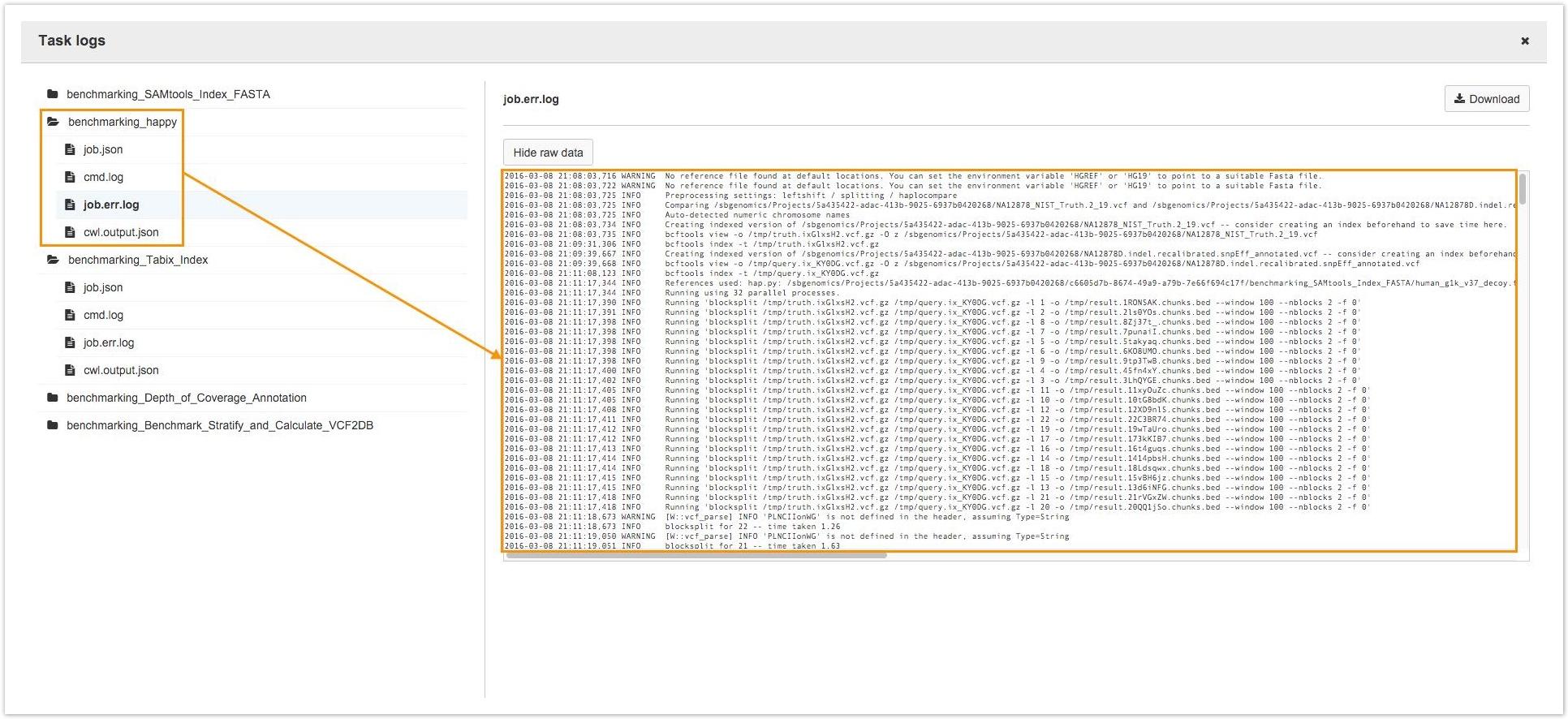 view task logs