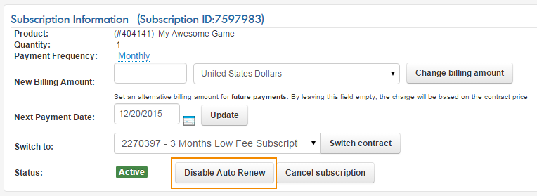 Automatic subscription renewal