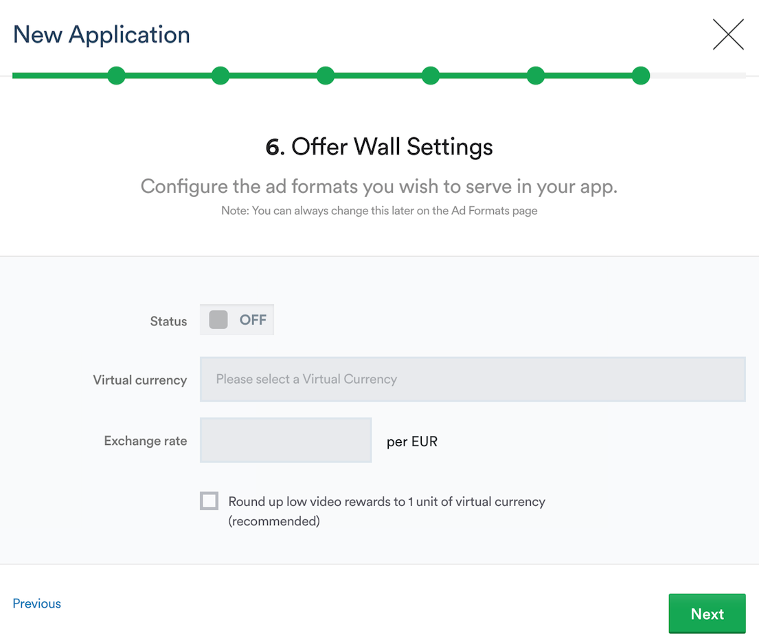 Setting up Offer Wall Settings
