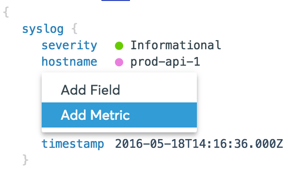 Add a metric from the raw log view