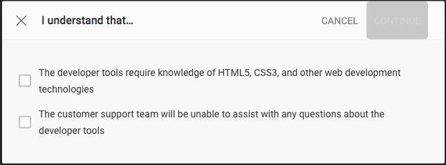 Developer confirmation