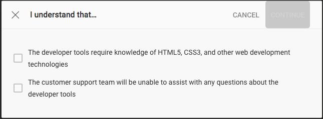 Developer confirmation