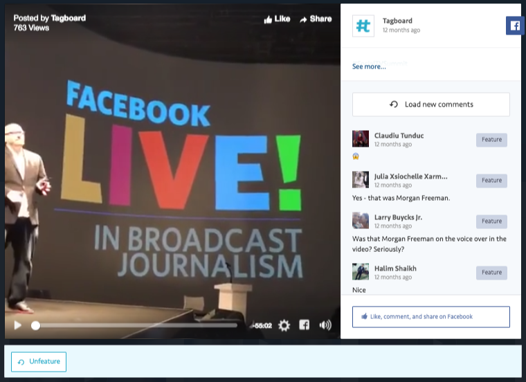 Feature Facebook Comments from Facebook Posts & Facebook Live