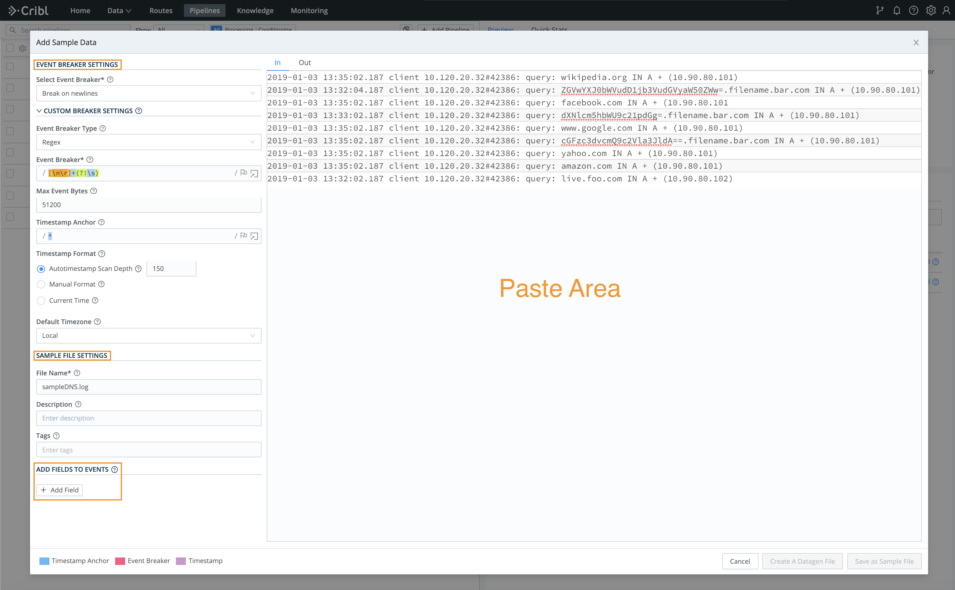 Add Sample Data modal