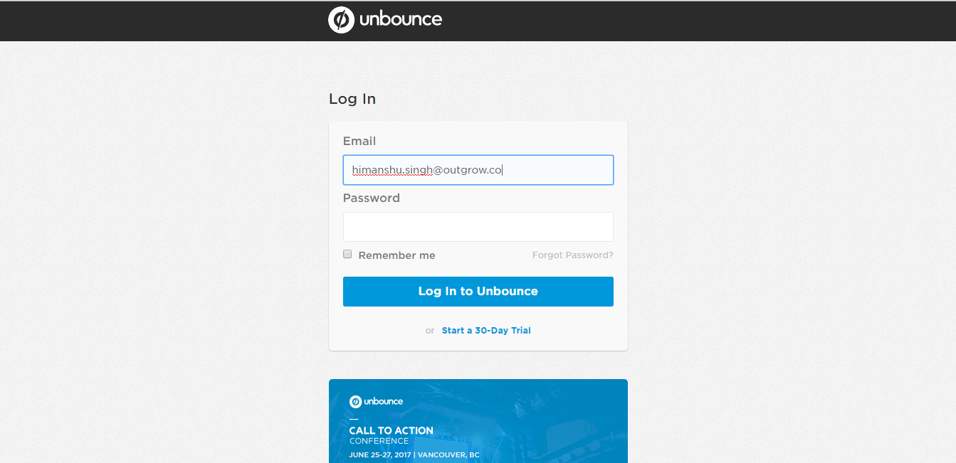 Unbounce Login Screen