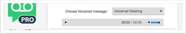 Select a voicemail greeting from the drop down