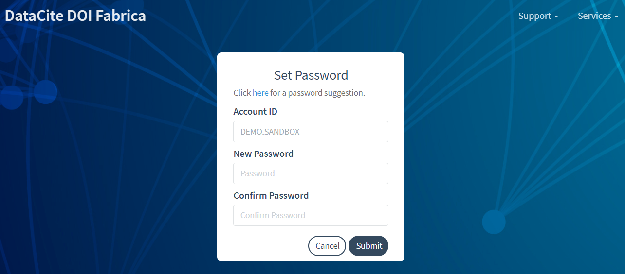 Password setting page in Fabrica Test
