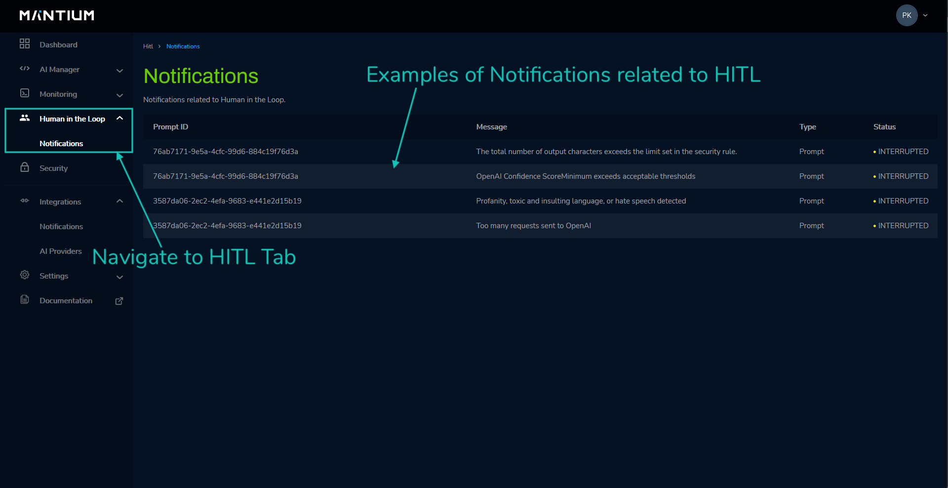 View notifications from triggered security policies