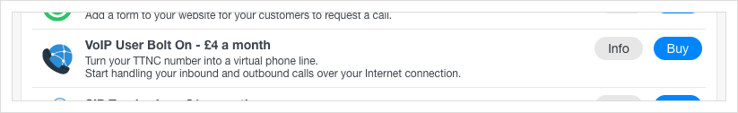 Select 'VoIP User Bolt On' from the list