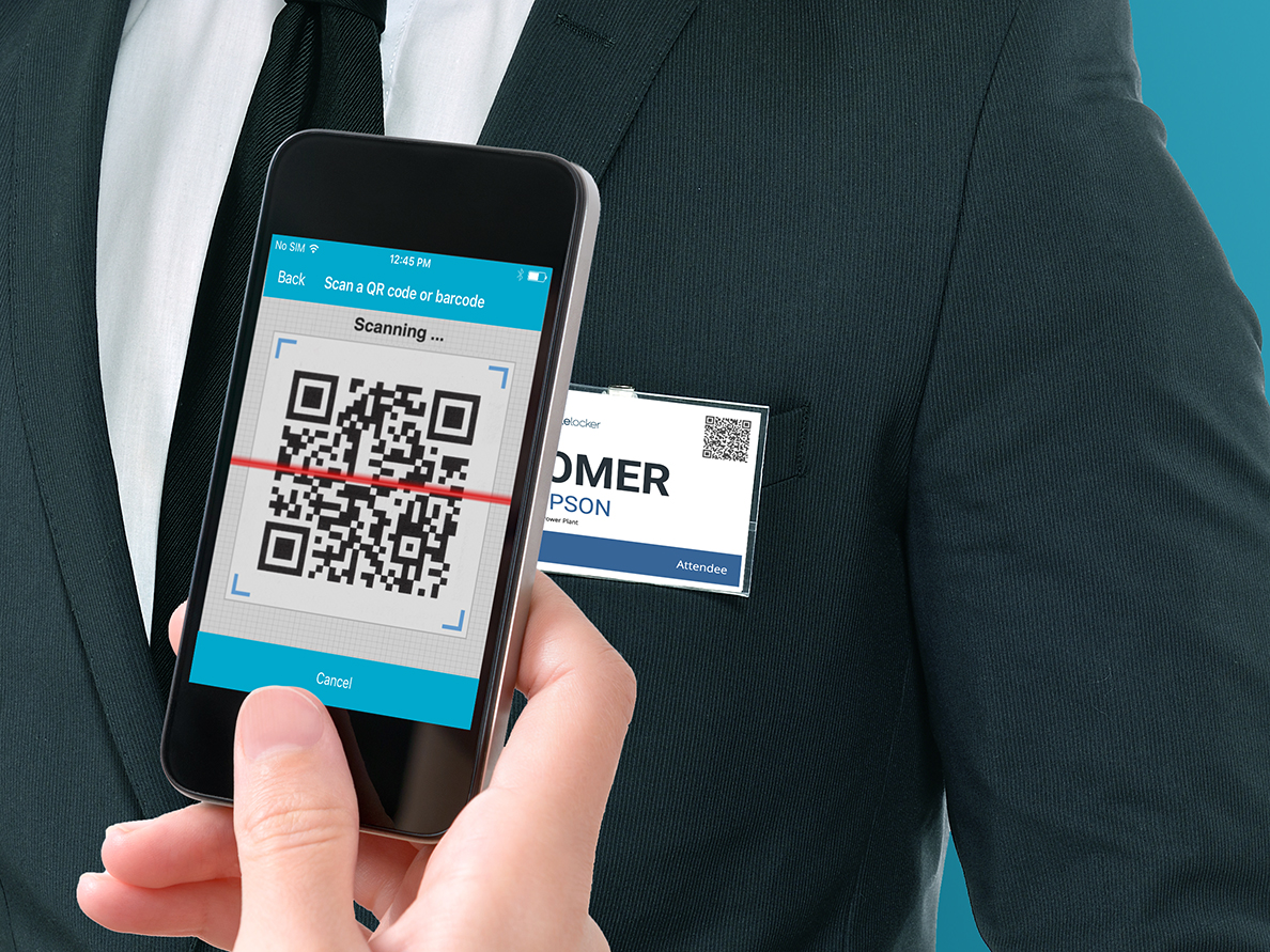 Scan the QR code on a name tag to capture the person's contact information.