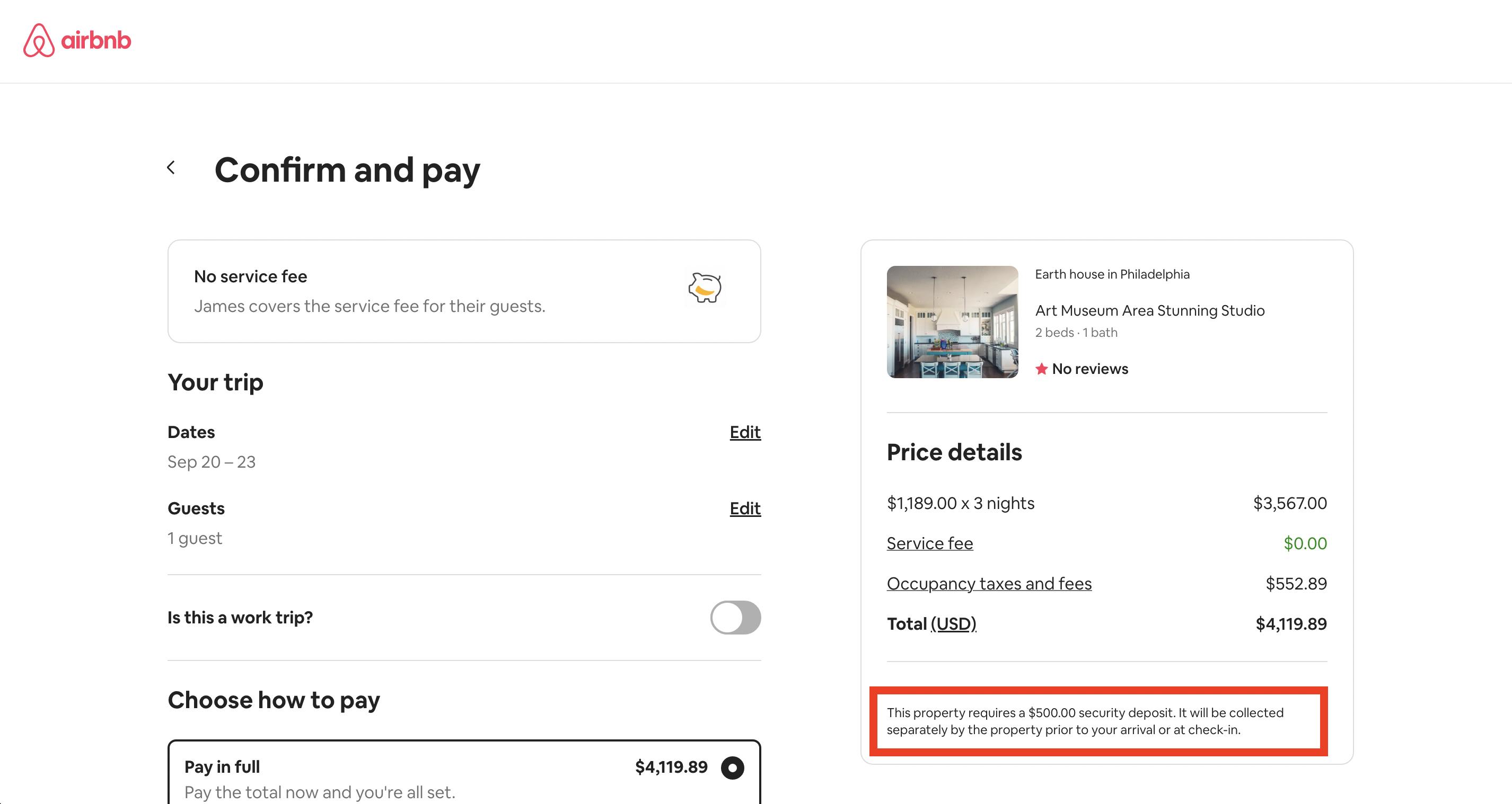 Airbnb offline deposit method