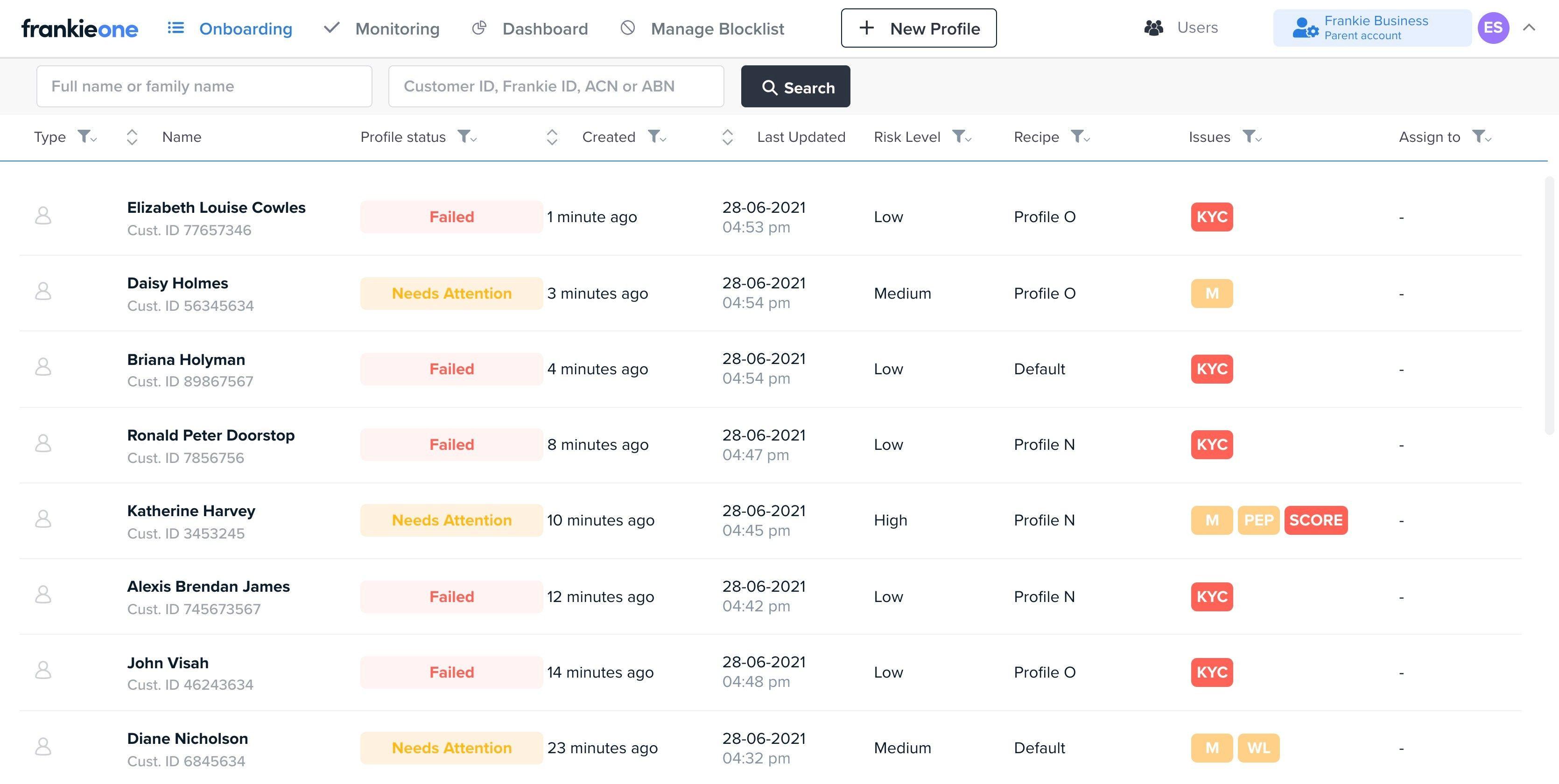 Screenshot of the onboarding list
