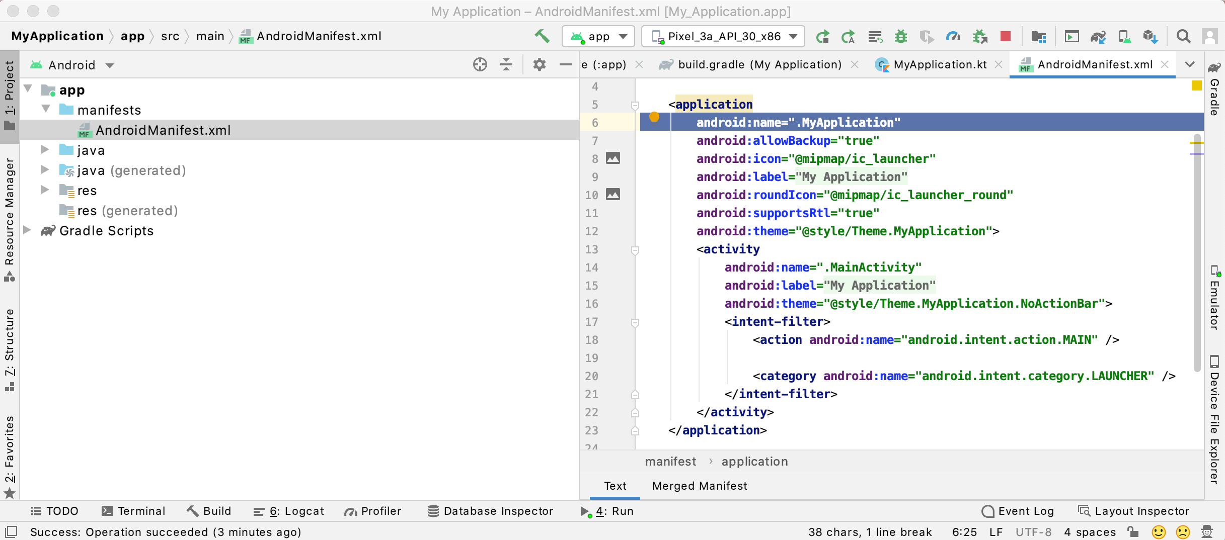 Add the new Application class as an attribute to the `<application>` tag in your `AndroidManifest.xml` file.