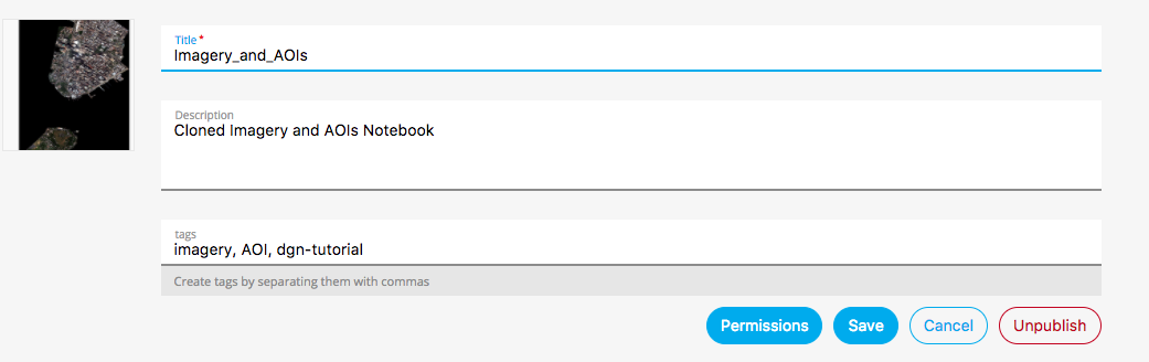 "Select ""Permissions"" to change the setting from public to private, and to share the Notebook with a group or organization."