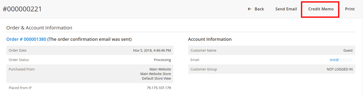 """Step 2: Click """"Credit Memo"""" on the invoice page"""