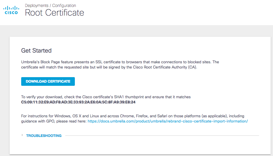Install the Cisco Certificate
