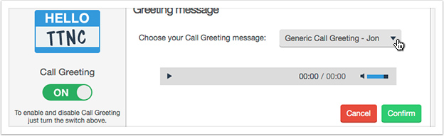 Select a Greeting message from the drop down