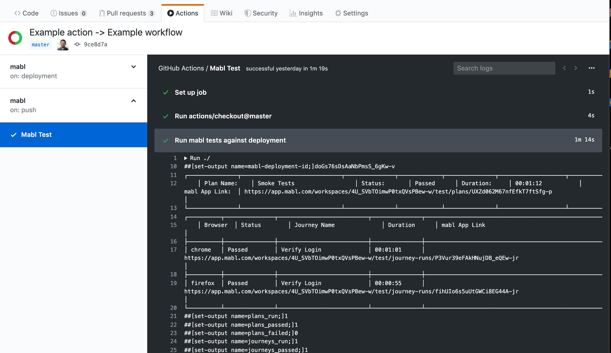 Run mabl tests GitHub Action