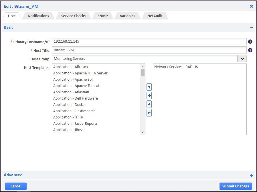 Example of Adding RADIUS Host Template